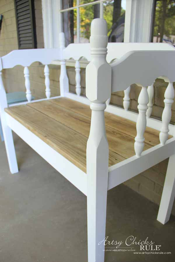 DIY Headboard Bench - DIY PORCH DECOR - artsychicksrule.com #headboardbench