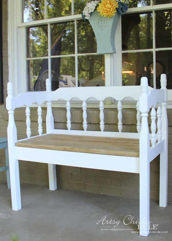 DIY Headboard Bench - DOABLE PROJECT - artsychicksrule.com #headboardbench