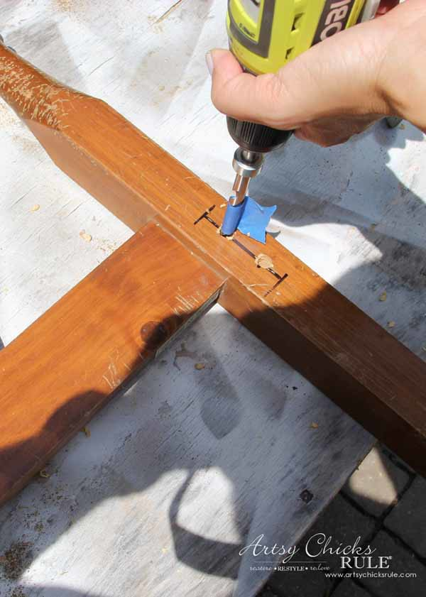 DIY Headboard Bench - MAKING HOLES FOR SCREWS - artsychicksrule.com #headboardbench
