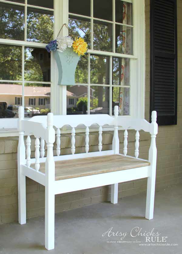 DIY Headboard Bench - SIMPLE DIY - artsychicksrule.com #headboardbench
