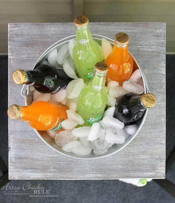 DIY Beverage Station Tutorial - Bucket for Drinks - artsychicksrule.com #beveragestand