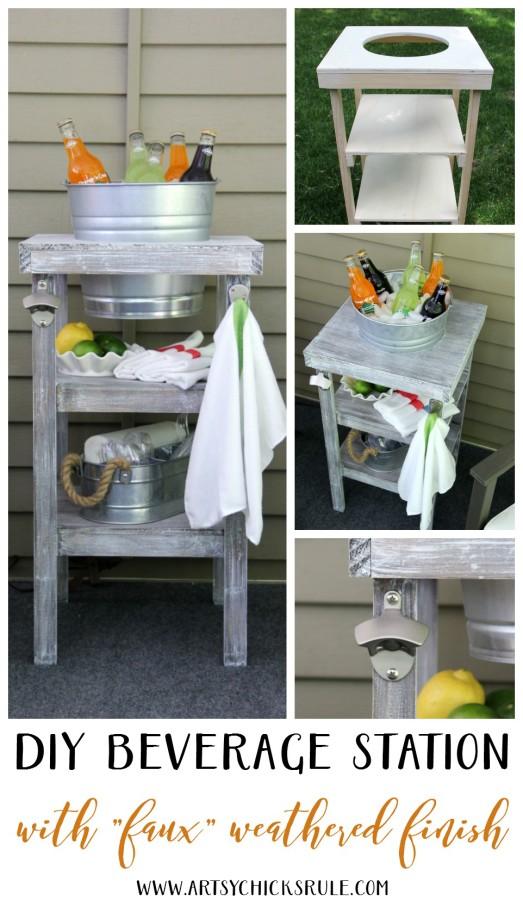 DIY Beverage Station Tutorial - EASY DIY FOR ALL - artsychicksrule.com #beveragestand