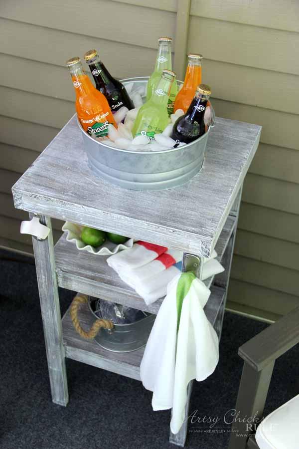DIY Beverage Station Tutorial - Home Depot DIH Workshop - artsychicksrule.com #beveragestand