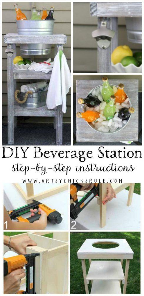 (EASY!!) DIY Beverage Station Tutorial - step by step instructions - artsychicksrule.com