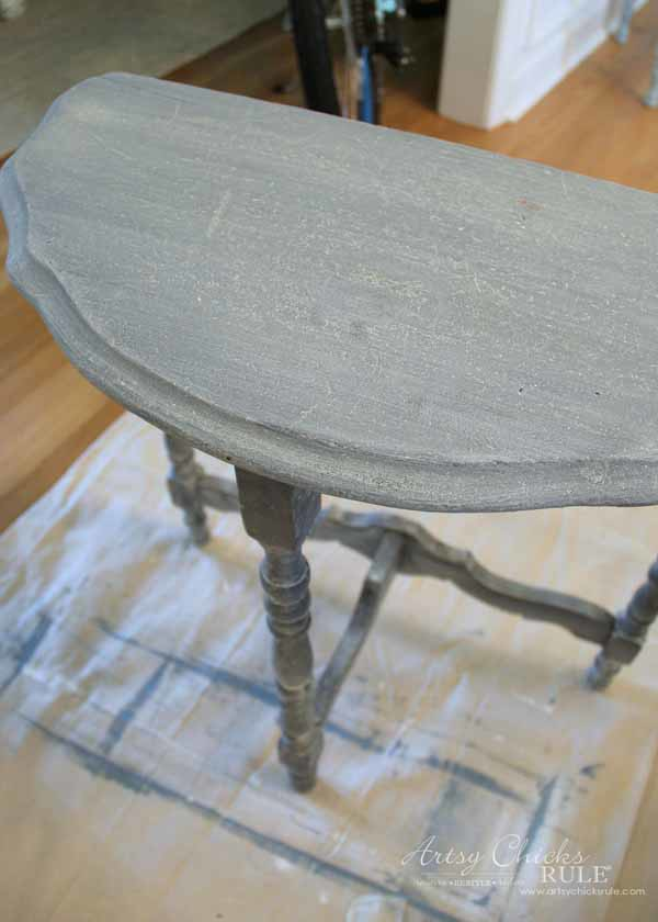 Thrifty Makeover with MMS Milk Paint - applied several coats - artsychicksrule #milkpaint #mmsmilkpaint