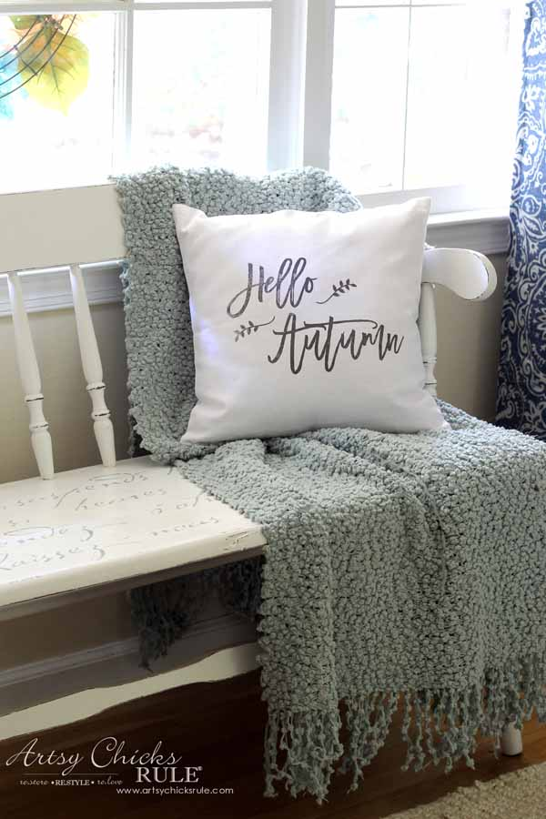 DIY Fall Pillows and Free Printables - Hello Autumn Pillow - artsychicksrule #freeprintables #fallpillow #fallsayings