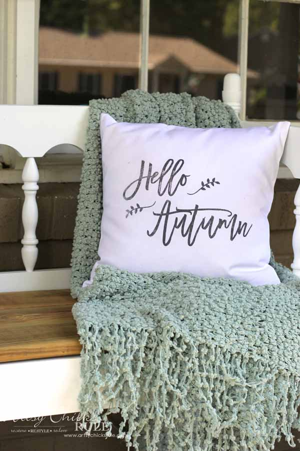 DIY Fall Pillows and Free Printables - Hello Autumn - artsychicksrule #freeprintables #fallpillow #fallsayings