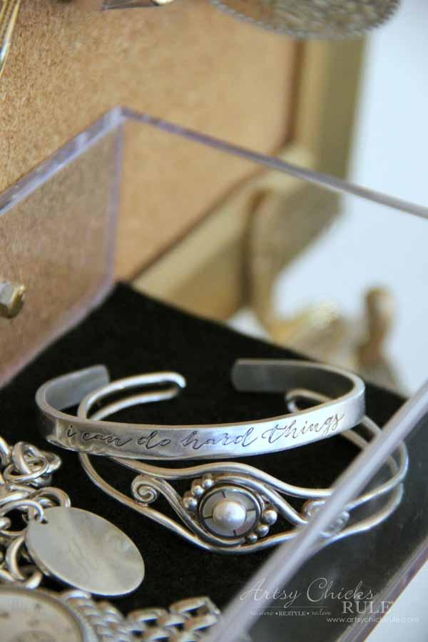 DIY Jewelry Organizer - I Can Do Hard Things bracelet - artsychicksrule #jewelryorganizer #popularpins