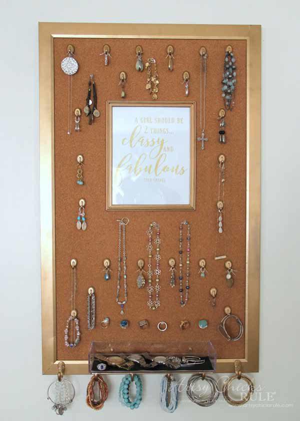 DIY Jewelry Organizer - SIMPLE PROJECT - artsychicksrule #jewelryorganizer #popularpins