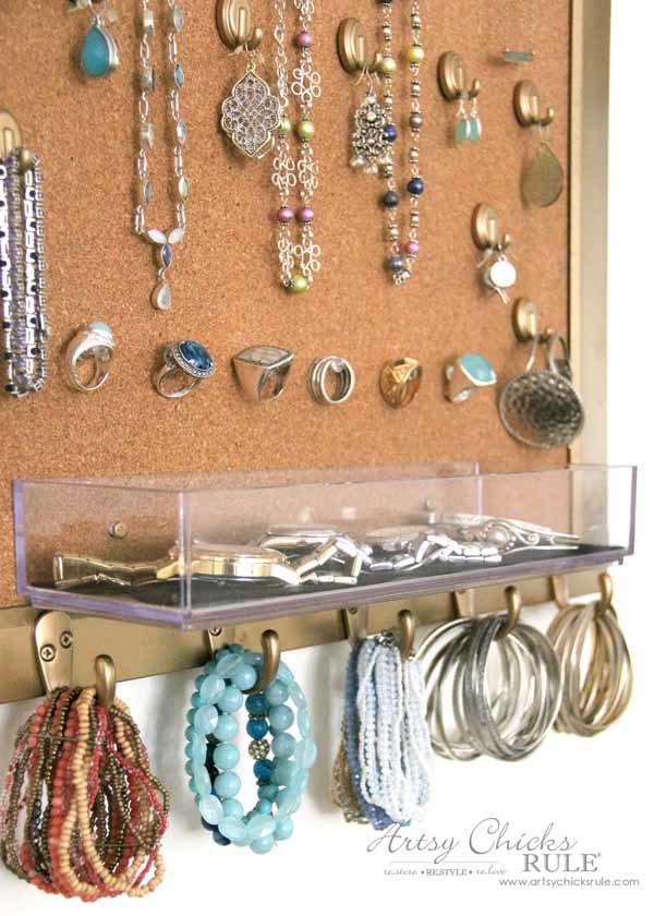 DIY Jewelry Organizer - hooks are great for bracelets - artsychicksrule #jewelryorganizer #popularpins