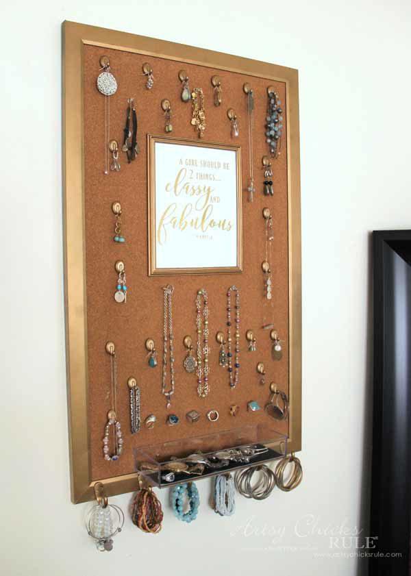 DIY Jewelry Organizer - you could replace with a mirror - artsychicksrule #jewelryorganizer #popularpins
