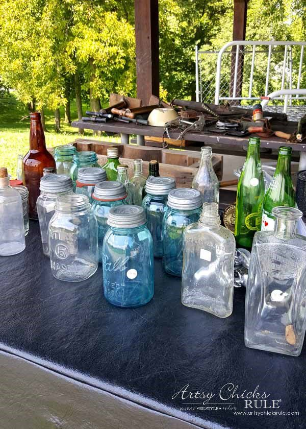 GMC & The World's Longest Yardsale - lots of mason jars - artsychicksrule #worldslongestyardsale #gmc