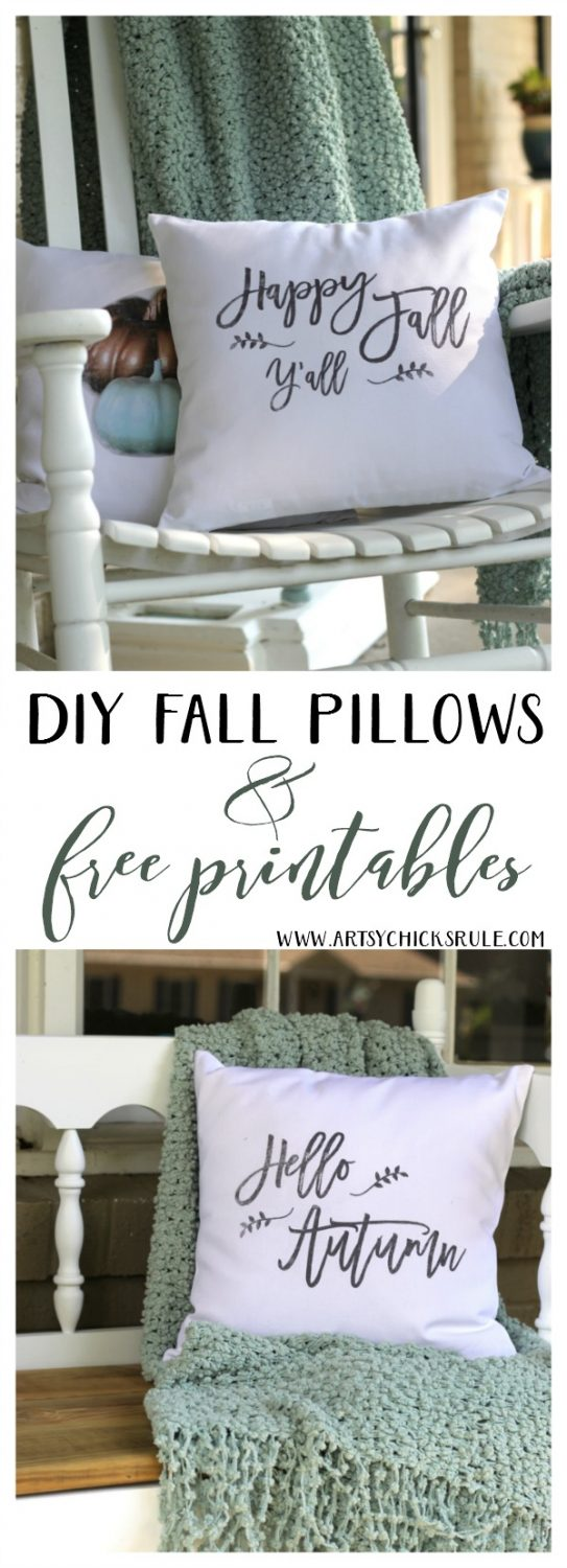 LOVE these DIY Fall Pillows and FREE printables too! artsychicksrule.com