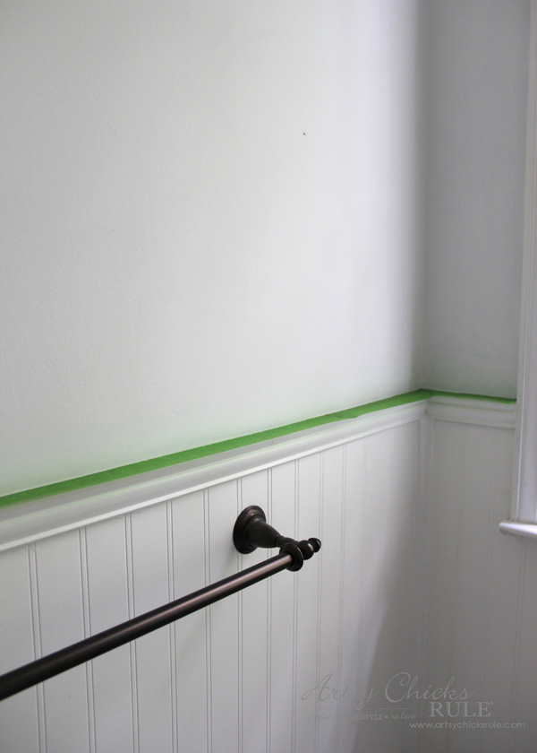 Tips for painting walls guest bath makeover artsy for Painting lines on walls