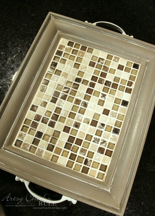 Old Frame Turned DIY Tiled Tray - Quick and Easy - artsychicksrule.com #diytiledtray #tiledtray