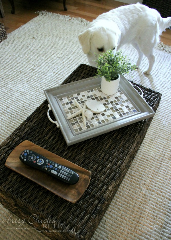Old Frame Turned DIY Tiled Tray - Ryder - artsychicksrule.com #diytiledtray #tiledtray