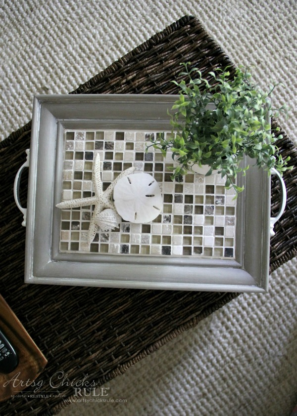 Old Frame Turned DIY Tiled Tray - SUPER EASY DIY - artsychicksrule.com #diytiledtray #tiledtray