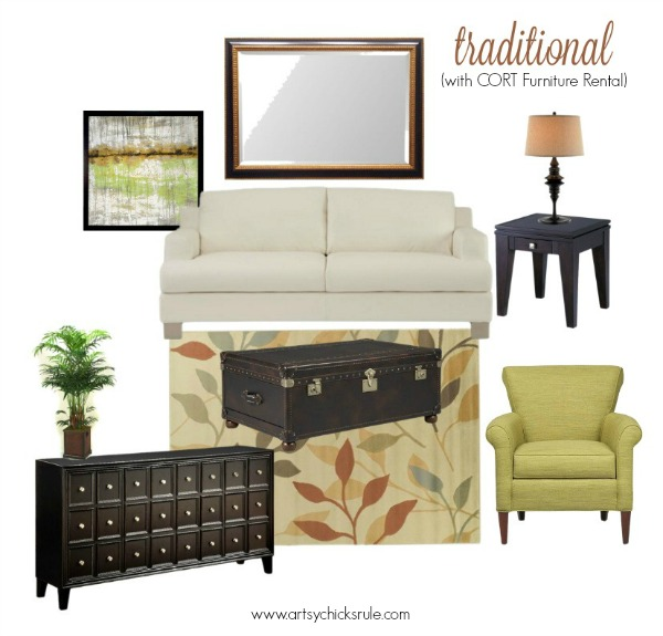 decorating ideas 1 room 3 ways with cort furniture rental artsy
