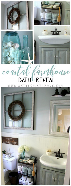Love this style!!! Coastal Farmhouse Bath Reveal - artsychicksrule.com