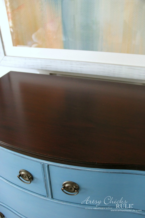Giverny Chalk Paint Chest Makeover with White Wax - artsychicksrule.com