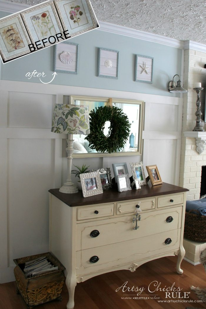 Completely Transformed! Thrifty decor with old Prints Repurposed into Coastal Wall Decor - artsychicksrule.com