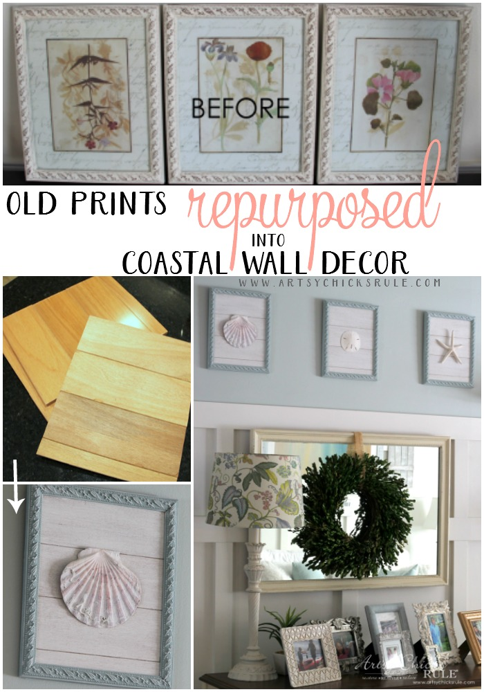 EASY (and THRIFTY!) DIY Home DECOR! Old Prints Repurposed into Coastal Wall Decor - artsychicksrule.com