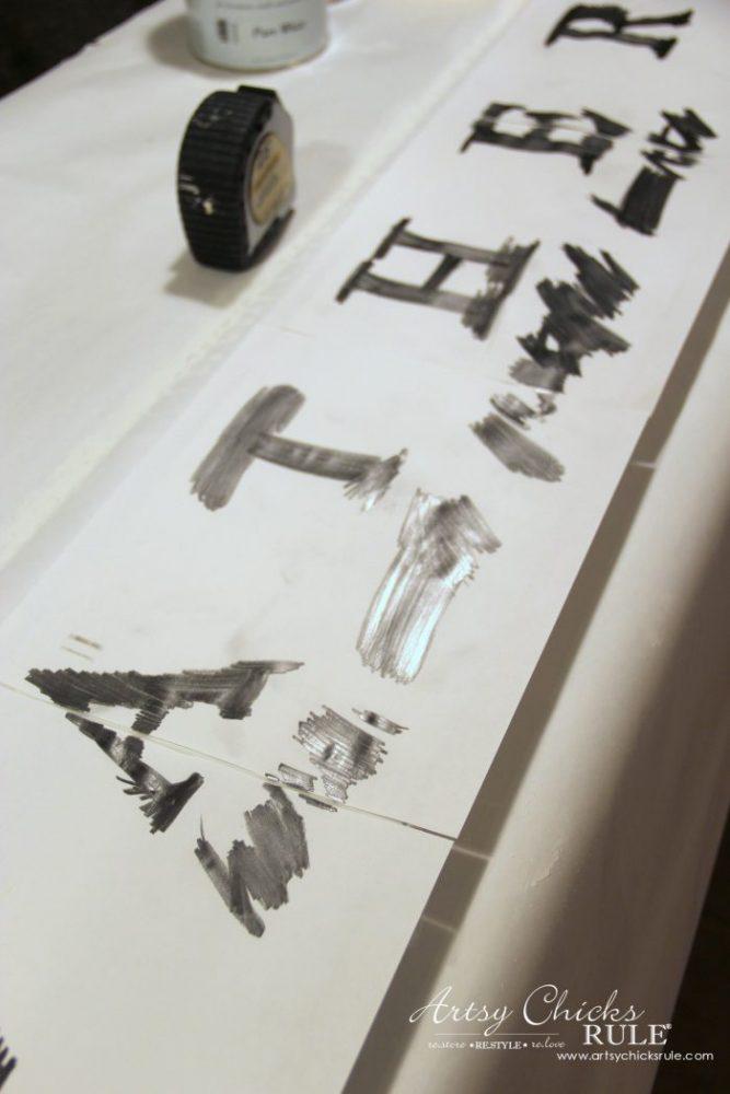 DIY Farmhouse Gather Sign PLUS a SIMPLE Transfer & Paint Method!! artsychicksrule.com