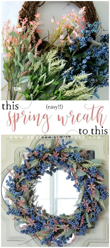 SOOO Simple & EASY Spring Wreath! #springwreath #easyspringwreath #diyspringwreath artsychicksrule.com