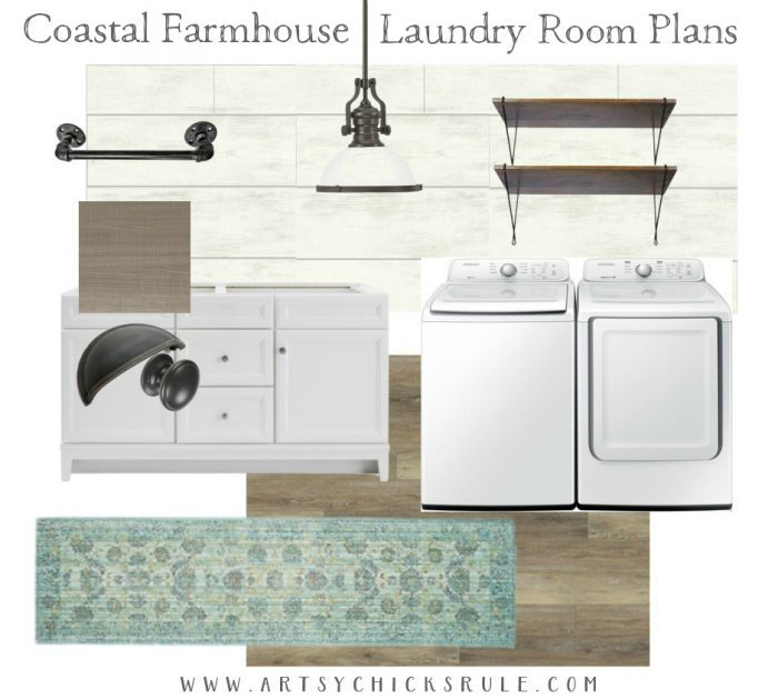 Coastal Farmhouse Laundry - One Room Challenge REVEAL!! artsychicksrule.com