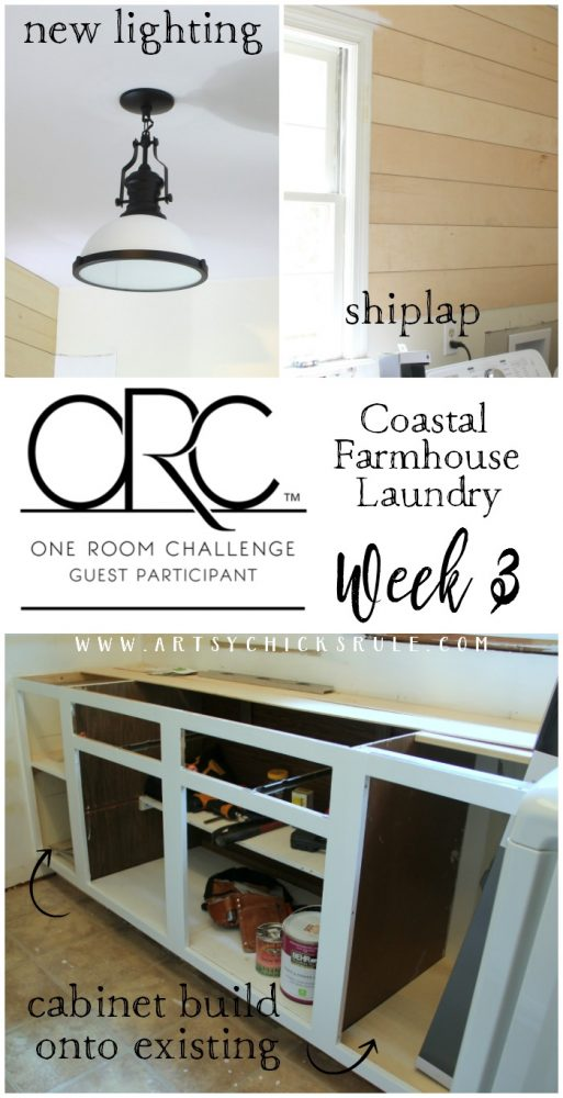 Shiplap Progress & New Lighting One Room Challenge Week 3 artsychicksrule.com