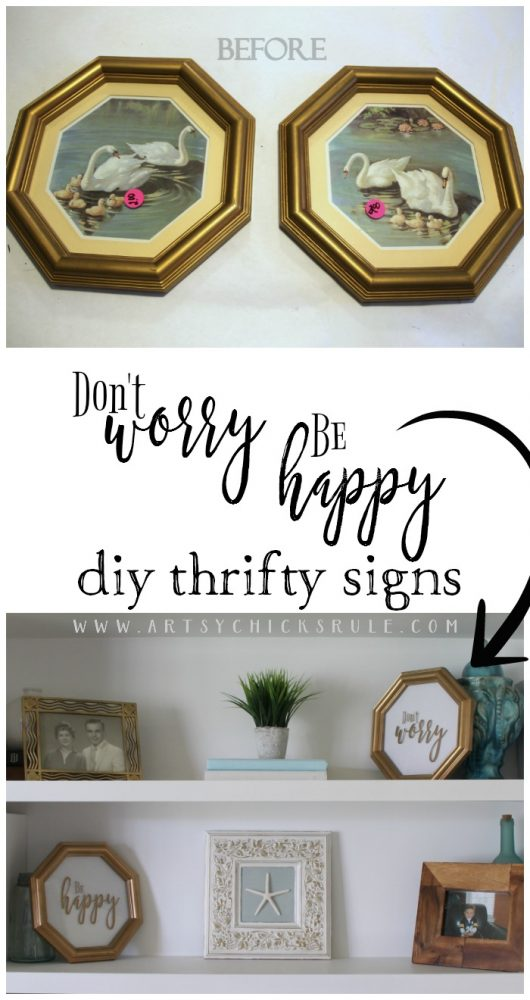 EASY DIY SIGN! (and FREE Printables!) Don't Worry Be Happy Signs, Easy DIY Signs and Thrifty Makeover! artsychicksrule.com