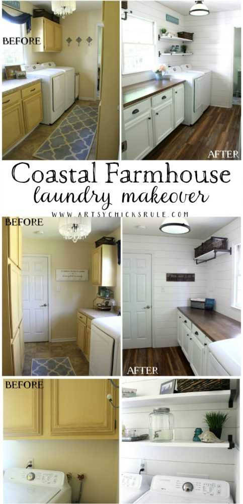 Coastal Farmhouse Laundry - One Room Challenge REVEAL!! BEFORE AND AFTER artsychicksrule.com