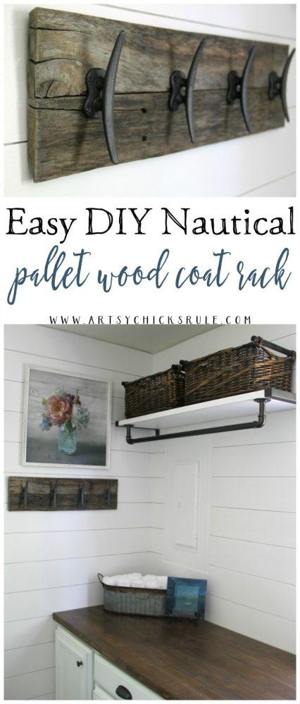 Easy!! DIY Nautical Pallet Wood Coat Rack artsychicksrule.com