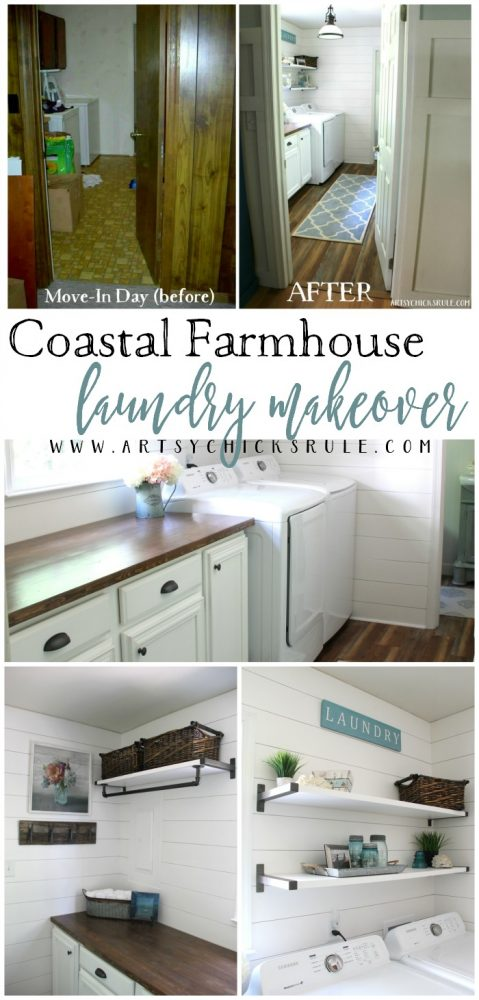 Wow!!! Coastal Farmhouse Laundry - One Room Challenge REVEAL!! artsychicksrule.com