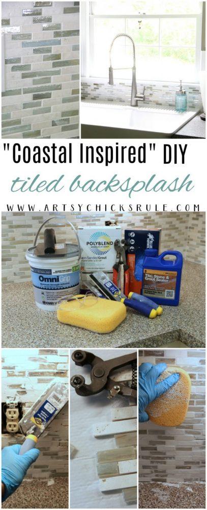 DIY Coastal Inspired Tile Backsplash artsychicksrule.com