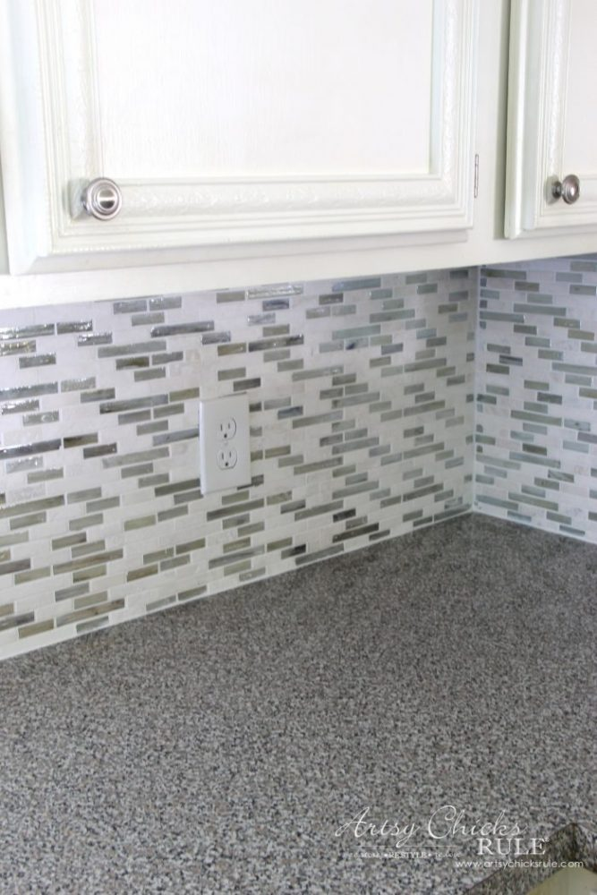 Coastal Inspired DIY Tile Backsplash Tutorial artsychicksrule.com
