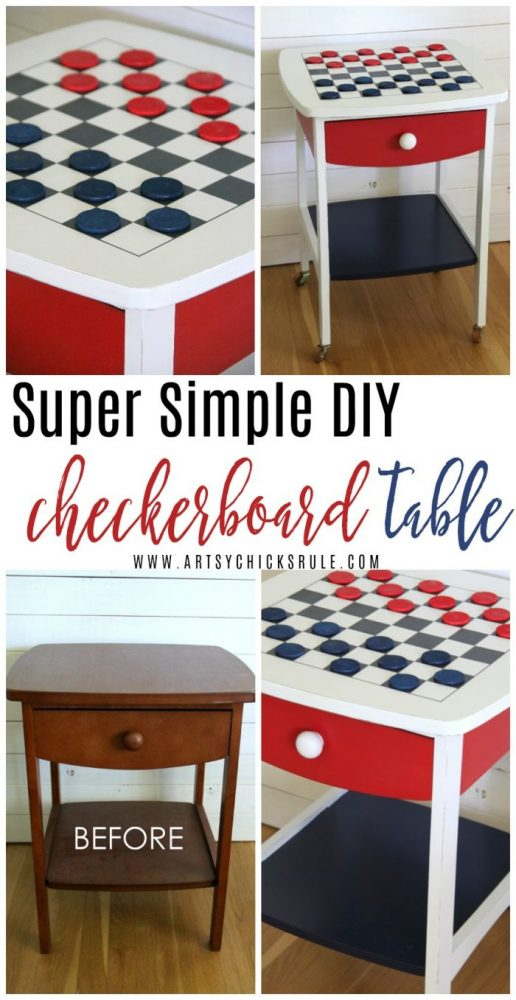 (EASY!!) DIY Checkerboard Table ... Patriotic Style (budget friendly and perfect for July 4th festivities!) artsychicksrule.com