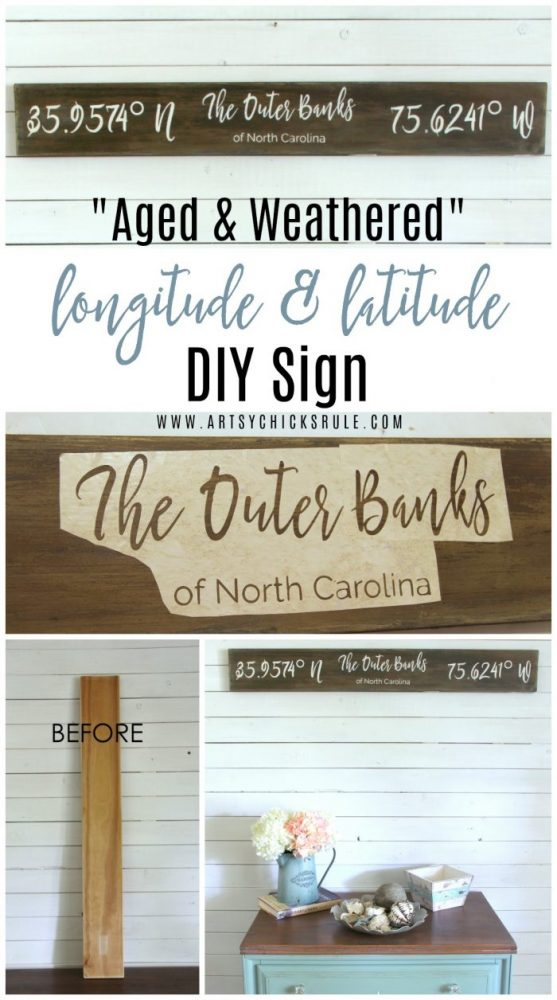 Faux Aged & Weathered The Outer Banks Longitude Latitude Sign artsychicksrule.com