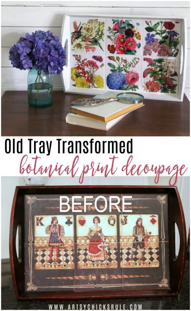 Colorful (and thrifty!!) Botanical Decoupage Makeover artsychicksrule.com