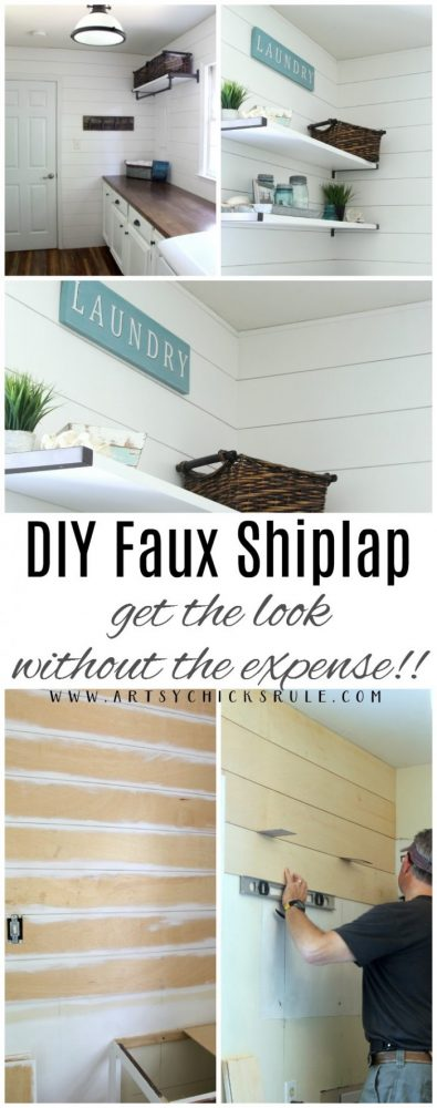 DIY Faux Shiplap - Get the look without the expense!! artsychicksrule.com