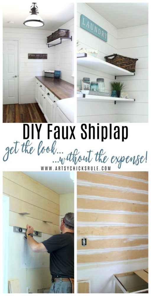 DIY Faux Shiplap Tutorial!! Get the Look without the Expense!!- artsychicksrule.com