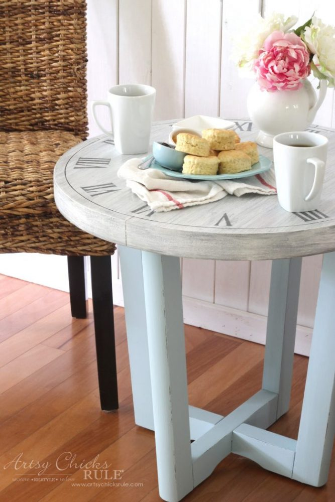 French Country Clock Face Table Makeover artsychicksrule.com
